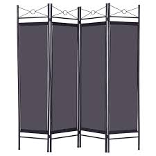 office separator. Costway Black 4 Panel Room Divider Privacy Screen Home Office Fabric Metal Frame Separator E