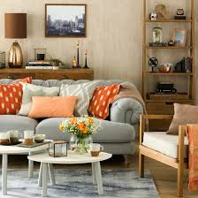 grey living room with orange accents mix and match living room schemes