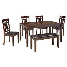 ashley furniture signature design bennox dining room table and chairs with bench set of