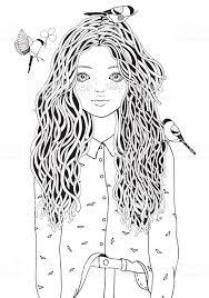 Schattig Meisje In Een Shirt De Vogels Vliegen Kleurplaat Boek Voor