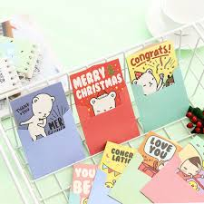 Us 0 71 20 Off 1 Pcs Cute Girl Folding Christmas Message Card With Envelope Valentines Day New Year Blessing Greeting Card Birthday Gift Cards In
