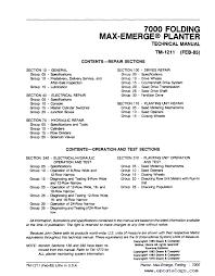 John Deere 7000 Planter Settings Chart John Deere 7000 Folding Max Emerge Planter Tm1211 Technical Manual Pdf