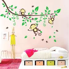 jungle tree wall decals cartoon naughty monkey wall sticker baby monkeys in  the jungle cartoon naughty
