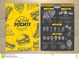 Design Fast Food Menu Vintage Fast Food Menu Design Stock Vector Illustration
