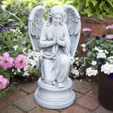 kneeling praying guardian angel outdoor statue