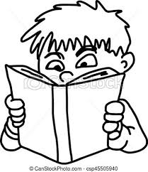 closeup little boy reading a book vector ilration sketch hand drawn isolated on white