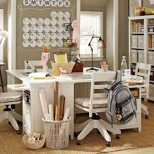 ... Modern Girl Study Room Design With Creme Color And White Furniture Tips  to choose Study room ...