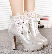 romantic silver white lace wedding boots bridal shoes dress boots Cheap Wedding Shoe Boots romantic silver white lace wedding boots bridal shoes dress boots bow wedding shoes high heel ankle boots white platform pumps ladies high heel shoes Silver Wedding Shoes