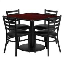 bowery hill 5 piece square table set in black and gany brown s square tables squares and s