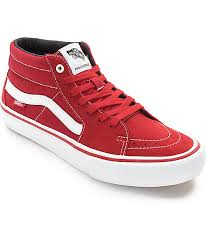 vans shoes red and white. vans sk8-mid pro scarlet red \u0026 white skate shoes and -