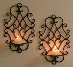 Small Picture WroughtIronWallDecor Pair of Wrought Iron Candle Holders