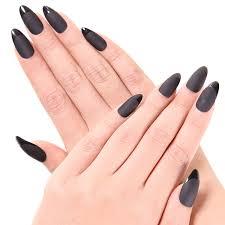 Amazon Ejiubas デザインネイルチップ シンプル ブラック つけ爪