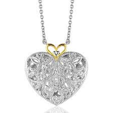 sterling silver and 14k yellow gold filigree heart pendant with diamond accent com