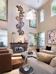 high ceiling living room wall decor