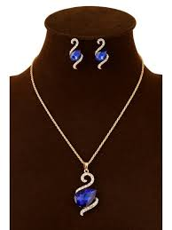faux crystal water drop pendant necklace and earrings blue