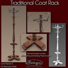 Traditional Coat Rack Second Life Marketplace Traditional Coat Rack Full Perm Mesh 85