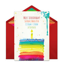 Free Online Birthday Invitations To Email Free Rainbow Birthday Cake Online Invitation Punchbowl Com
