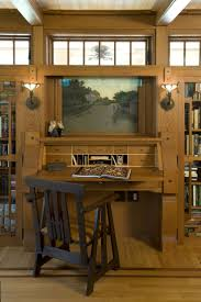traditional hidden home office. Green Home Design In Classic And Natural Looks : Traditional Office Wooden Chair Hidden Bungalow Gatehouse D