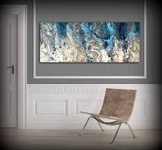 blue and gray abstract wall art
