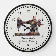 Formato Au 12 Patchwork Quilt Sewing Machine Wall Clock