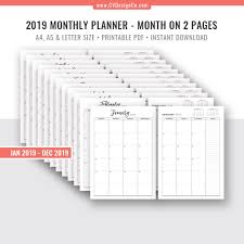 Monthly Planner Free Download Printable Monthly Planner 2019 Monthly Calendar Monthly Organizer Digital Printable Monthly Calendar Filofax A5 A4 Letter Size