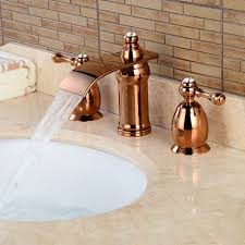 brass waterfall ceramic valve three holes rose gold bathroom sink faucet w two handles