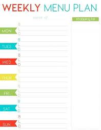 Printable Weekly Menu Template Free Planner Blank Dinner