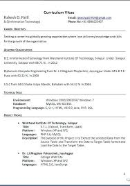 New Resume Format For Freshers Resume Format For Diploma Mechanical