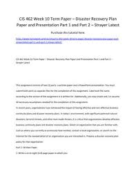 Recovery Plan New CIS 48 Week 48 Term Paper Disaster Recovery Plan Paper And