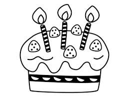 誕生日ケーキの白黒イラスト02 かわいい無料の白黒イラスト モノぽっと
