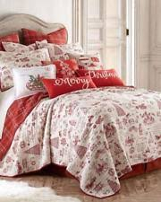 Toile Quilts   eBay & CHARMING CHRISTMAS QUILT TREE HOLLY REINDEER BIRDS PLAID QUEEN Red Ivory Adamdwight.com