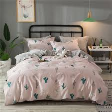 cute pink quilt cover cactus pattern bedding set flannel cotton winter flannel duvet cover soft