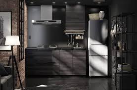 Freistehender Kühlschrank In Einer Schwarzen IKEA Küche