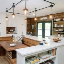 track lighting dining room. Natural Wood Country Kitchen With Built In Dining Room And Industrial Track Lighting N