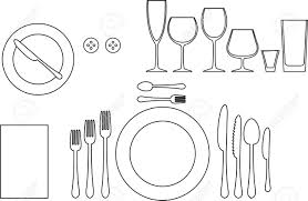 Outline Silhouette Of Tableware Etiquette Proper Table Setting - Dining room etiquette