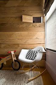 rustic nursery with plank walls