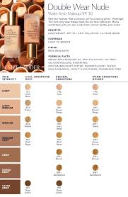 Estee Lauder Double Wear Color Chart Estee Lauder Double Wear Light Color Chart Best Picture Of