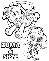Zuma And Skye Pups From Paw Patrol On Printable Coloring Books