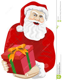 Santa Claus Giving A Gift Stock Vector Illustration Of
