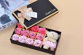 Gift Box Decoration Ideas 100 Eternal Rose Soap Flowers One Bear Included Gift Box Valentine 48