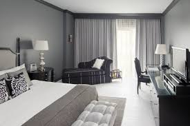 grey bedroom ideas for women. Bedroom:Soothing Guest Bedroom With Gray Walls And Black Bed Frame Across Dressing Table Grey Ideas For Women