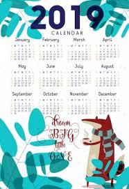 August Theme Calendar 2019 Calendar Template Nature Theme Fox Tree Icons Vectors