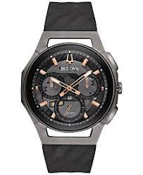 black watches for men shop black watches for men macy s bulova men s chronograph curv black rubber strap watch 44mm 98a162