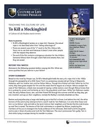 movie discussion guide to kill a mockingbird digital  movie discussion guide to kill a mockingbird 1962 digital culture of life studies
