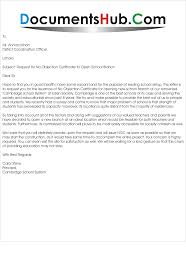Letter For Noc To Open School Branch