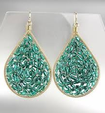 gorgeous artis aqua blue teal crystals gold chandelier earrings 15