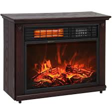 large room infrared quartz electric fireplace heater dark walnut finish w remote com
