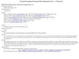 System Description Document Development Process A Proposal Ieee