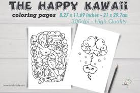By best coloring pagesmarch 22nd 2018. The Happy Kawaii Coloring Pages Graphic By Artsbynaty Creative Fabrica