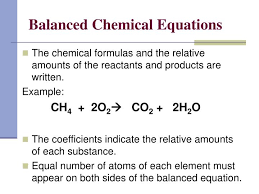 balanced chemical equations the chemical formulas and the relative amounts of